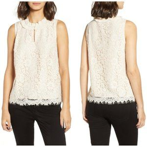 J. Crew Lace Ruffle Neck Sleeveless Top, size S
